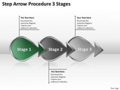 Step Arrow Procedure 3 Stages Business Plan Companies PowerPoint Slides