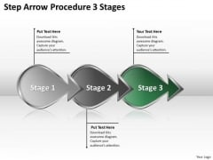 Step Arrow Procedure 3 Stages Ppt Mock Business Plan PowerPoint Templates