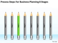 Steps For Business Planning 8 Stages Ppt Writing Template Free PowerPoint Slides
