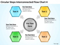 Steps Interconnected Flow Chart 4 Business Plan Preparation Service PowerPoint Templates