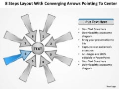 Steps Layout With Converging Arrows Pointing To Center Charts And Diagrams PowerPoint Slide
