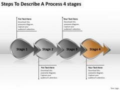 Steps To Describe A Process 4 Stage Ppt Writing Business Plan Template PowerPoint Slides