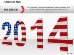 Stock Photo 2014 In American Flag Colors PowerPoint Slide
