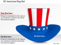 Stock Photo 3d American Flag Hat PowerPoint Slide