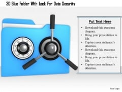Stock Photo 3d Blue Folder With Lock For Data Security PowerPoint Slide