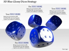 Stock Photo 3d Blue Glossy Dices Strategy PowerPoint Slide