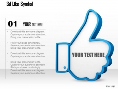 Stock Photo 3d Blue Like Symbol For Social Sites PowerPoint Slide