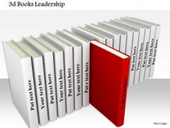 Stock Photo 3d Books With One Red Book Out Shows Leadership PowerPoint Slide