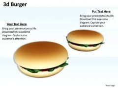 Stock Photo 3d Burgers With Food And Health PowerPoint Slide
