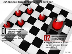 Stock Photo 3d Business Executive On Chess Board Bar PowerPoint Slide