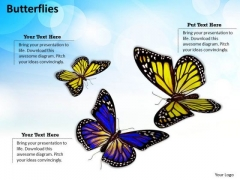 Stock Photo 3d Butterflies Flying With Nature Theme PowerPoint Slide