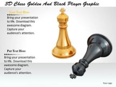Stock Photo 3d Chess Golden And Black Player Graphic PowerPoint Template