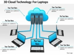 Stock Photo 3d Cloud Technology For Laptops PowerPoint Slide
