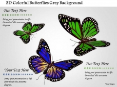 Stock Photo 3d Colorful Butterflies Grey Background PowerPoint Slide