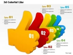 Stock Photo 3d Colorful Like Symbols PowerPoint Slide