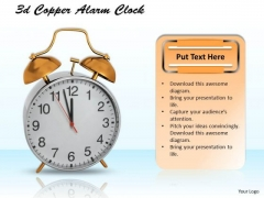Stock Photo 3d Copper Alarm Clock For Time Management PowerPoint Slide