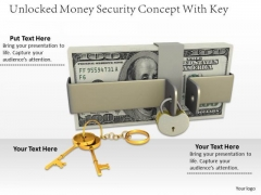 Stock Photo 3d Dollars Stack With Unlocked Lock And Keys PowerPoint Slide