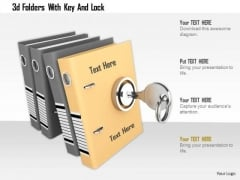 Stock Photo 3d Folders With Key And Lock PowerPoint Slide
