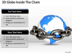 Stock Photo 3d Globe Inside The Chain Security PowerPoint Slide