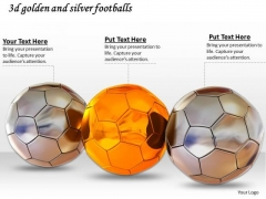Stock Photo 3d Golden And Silver Footballs PowerPoint Slide