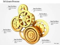 Stock Photo 3d Golden Gears For Process Control PowerPoint Slide