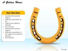 Stock Photo 3d Golden Horse Shoe For Good Luck PowerPoint Slide