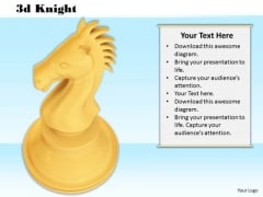 Stock Photo 3d Golden Knight For Chess Game PowerPoint Slide