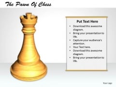 Stock Photo 3d Hite Chess Pawn For Game PowerPoint Slide