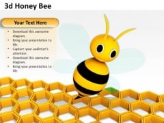 Stock Photo 3d Honey Bee With Colony Design PowerPoint Slide
