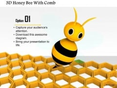 Stock Photo 3d Honey Bee With Comb PowerPoint Slide