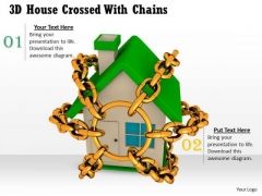 Stock Photo 3d House Crossed With Chains Safety PowerPoint Slide