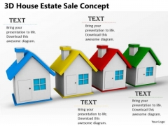 Stock Photo 3d House Home Red Blue Green Yellow Estate Sale Concept PowerPoint Slide