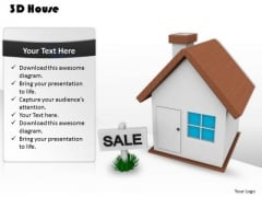 Stock Photo 3d House With Sale Board PowerPoint Slide