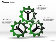 Stock Photo 3d Human Icons In Gears PowerPoint Slide