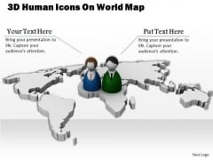 Stock Photo 3d Human Icons On World Map For Global Business Relation PowerPoint Slide