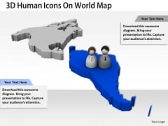 Stock Photo 3d Human Icons On World Map For Global Relationship PowerPoint Slide