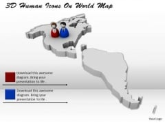 Stock Photo 3d Human Icons On World Map PowerPoint Slide