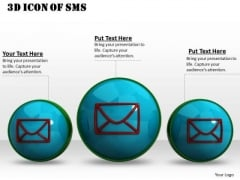 Stock Photo 3d Icon Of Sms For Technology PowerPoint Slide