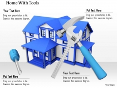 Stock Photo 3d Illustration Of House With Tools PowerPoint Slide