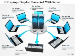 Stock Photo 3d Laptops Graphic Connected With Server PowerPoint Slide