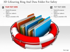 Stock Photo 3d Lifesaving Ring And Data Folder For Safety PowerPoint Slide