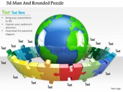 Stock Photo 3d Man And Rounded Puzzle PowerPoint Slide