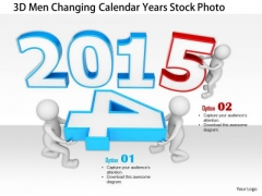 Stock Photo 3d Men Changing Calendar Years Stock Photo PowerPoint Slide