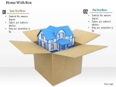 Stock Photo 3d Model Of House In A Box PowerPoint Slide