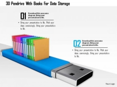 Stock Photo 3d Pendrive With Books For Data Storage PowerPoint Slide