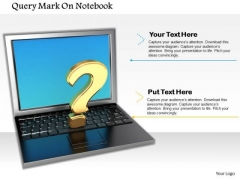 Stock Photo 3d Query Mark On Laptop Pwerpoint Slide