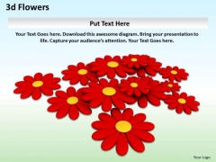 Stock Photo 3d Red Colored Flowers Background PowerPoint Slide