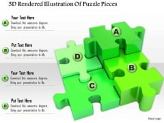 Stock Photo 3d Rendered Illustration Of Puzzle Pieces PowerPoint Slide