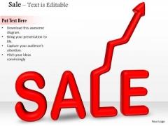 Stock Photo 3d Sale Text With Upward Arrow PowerPoint Slide