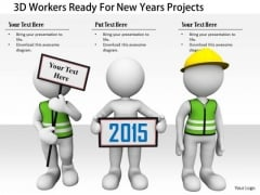 Stock Photo 3d Workers Ready For New Years Projects PowerPoint Slide